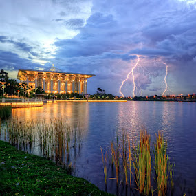 The Lightning On The Cloudy Monsoon Sunset by Mohd Tarmudi - Landscapes Sunsets & Sunrises ( putrajaya,  )