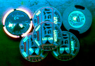 Photo: Ultraviolet markings on casino chips