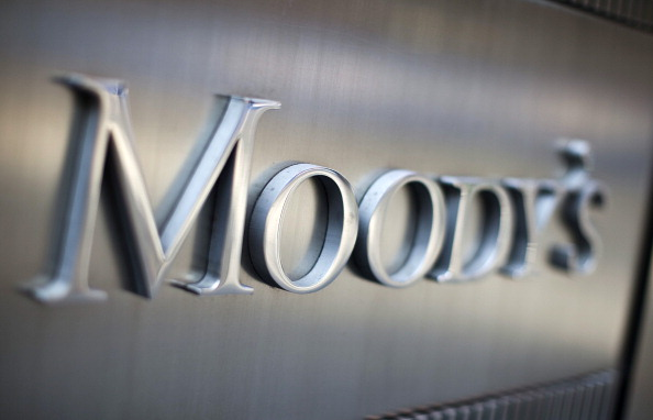 Moody's signage is displayed outside of the company's headquarters in New York. Picture: BLOOMBERG/ GETTY IMAGES/ RAMIN TALAIE
