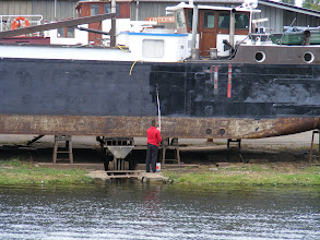 Photo: I can't begin to capture the full size of this boat, but believe me, this fellow has a full day's work ahead of him.