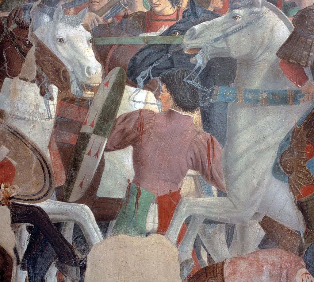 Piero della Francesca, Le Storie della Vera Croce, Battaglia di Eraclio e Cosroè, (particolare giovane elegante coi suoi gambali rossi e verdi, prima del restauro), Basilica di San Francesco, Arezzo