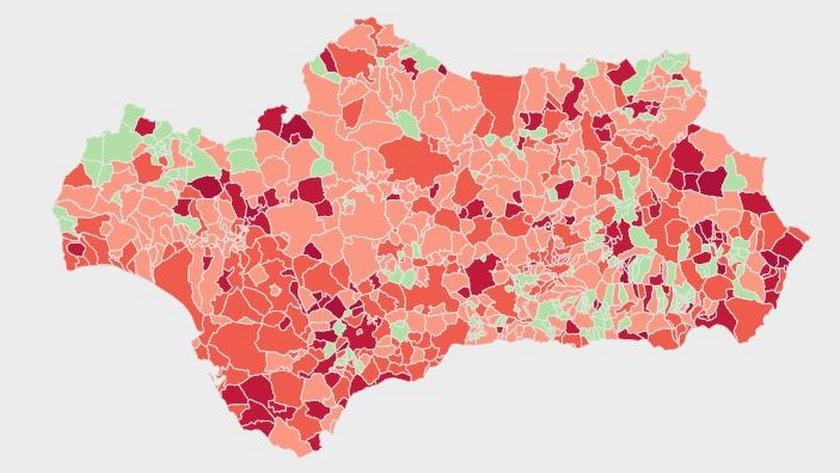 Mapa covid de los municipios de Andalucía.