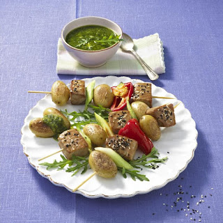 Tuna, Potato and Pepper Kebabs with Arugula Pesto