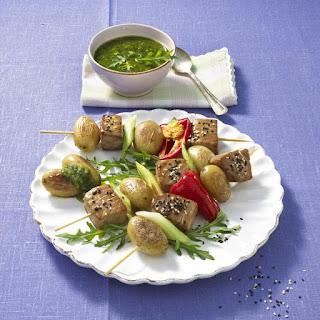 Tuna, Potato and Pepper Kebabs with Arugula Pesto.