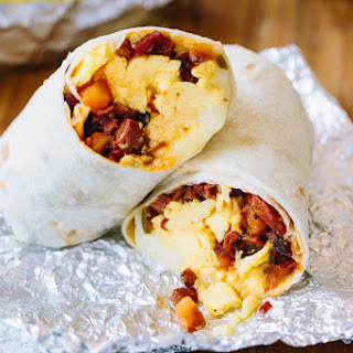 Potato, Chorizo, and Cheesy Egg Burritos