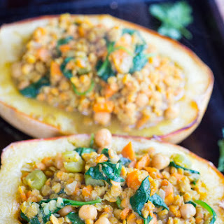 Red Lentil Coconut Curry Stuffed Spaghetti Squash