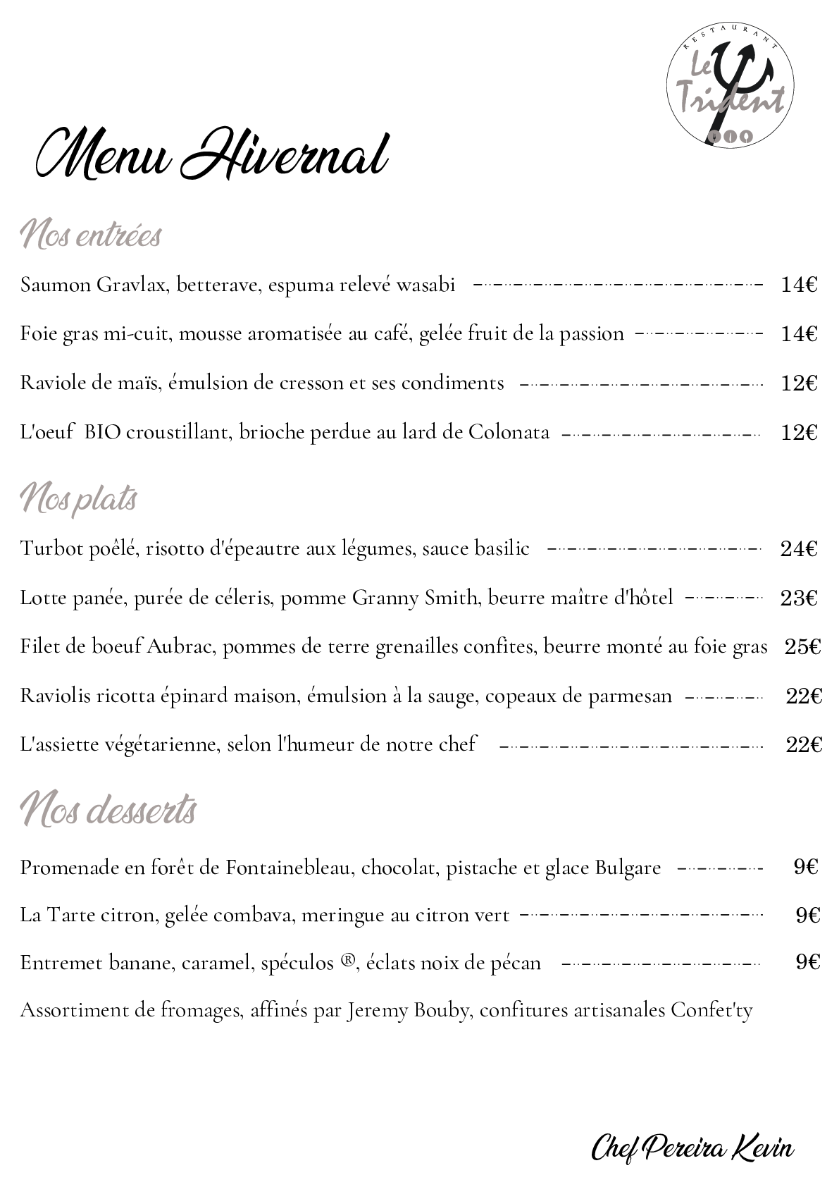 Menu Hivernal