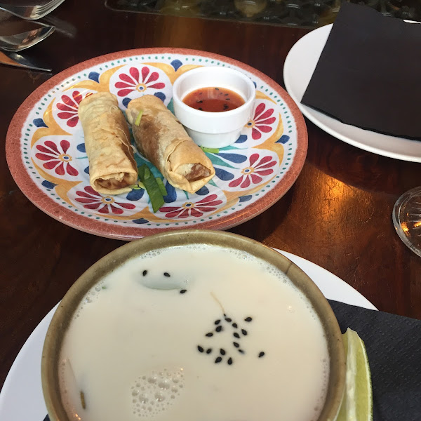 Spring rolls and a coconut soup