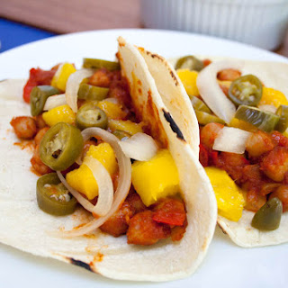 BBQ Chickpea and Mango Tacos with Pickled Peppers and Onions Recipe