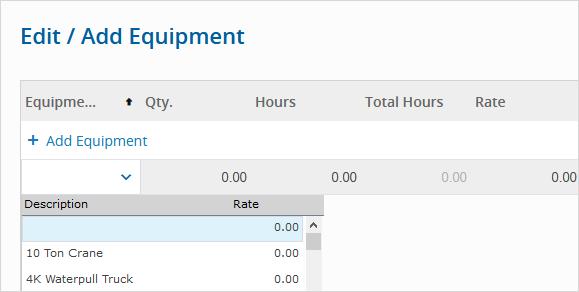 Edit Add Equipment Daily Report