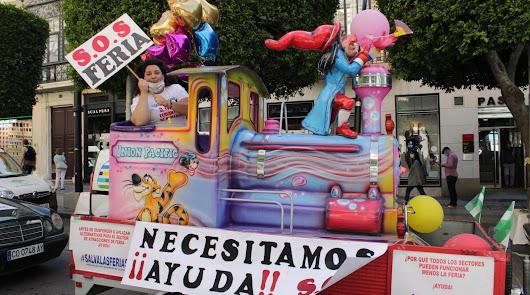 Caravana de protesta de los feriantes, que piden ayudas y volver a trabajar