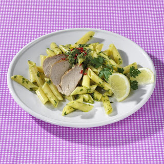 Pork with Penne and Salsa Verde.