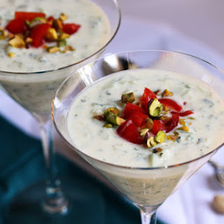 Cold Cucumber Soup with Tomato and Pistachio