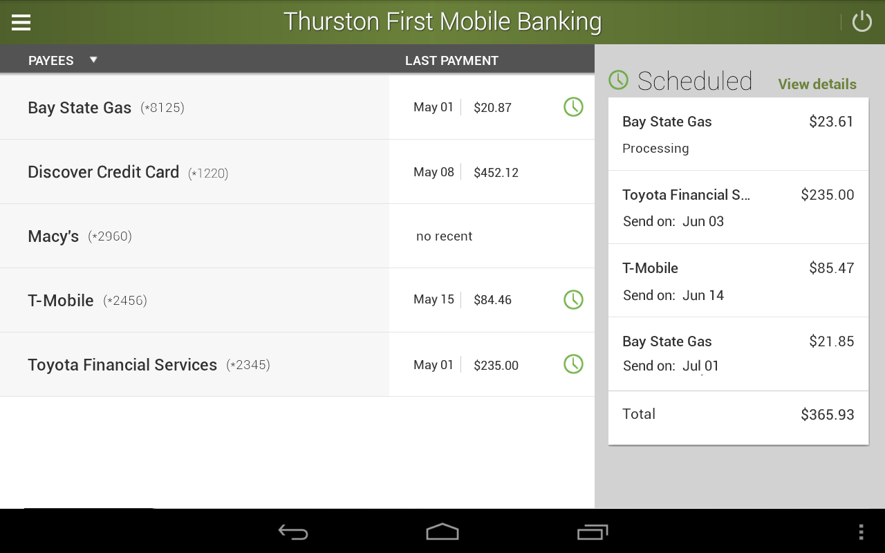 Thurston First Mobile Banking- screenshot