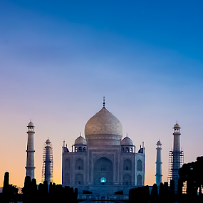The Beauty - Taj Mahal in Moon Light by Deepak Goswami - Buildings & Architecture Public & Historical ( love, moon light, taj, building, white, wonder, taj mahal, india )