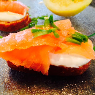 Honey Drizzled Smoked Salmon Crostini