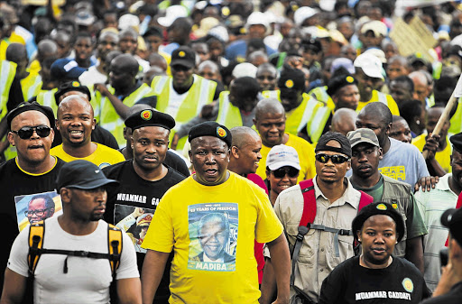 File photo of ANC Youth League president Julius Malema marching supporters to the JSE in Sandton, northern Johannesburg.