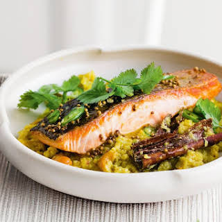 Spiced Salmon With Coconut And Cashew Cauliflower Rice.