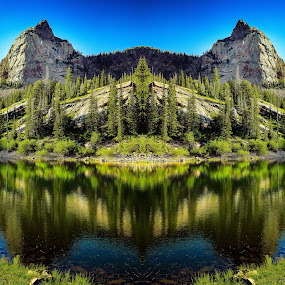 Sundial Peak by Brandon Montrone - Digital Art Places ( water, abstract, reflection, mountain, creative, peak, art, fine art, forest, lake, landscape, mirror, mirrored reflections, symmetry, fractal )