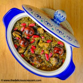 Persian Fresh Herb Stew with Meat and Kidney Beans.