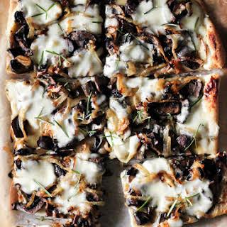 Caramelized Onions, Mushrooms + Rosemary Potatoes with Garlic Cream Sauce.