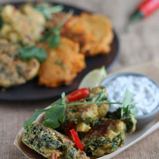 Cauliflower & Cavolo Nero Vegetable Pakoras with Coriander and Coconut Chutneys