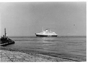 """Photo: """"Olau Finn"""" entering the port of Vlissingen, May 1979 (Photo: H.G. Hesselink)"""