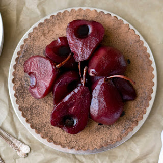 Chocolate Tart w/ Red Wine Pears