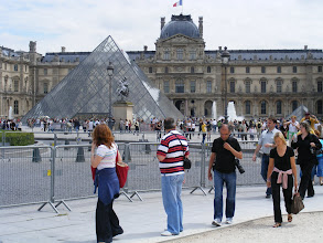 Photo: We pass by the Louvre, but the Sunday line is long, and so we will save it for another day.