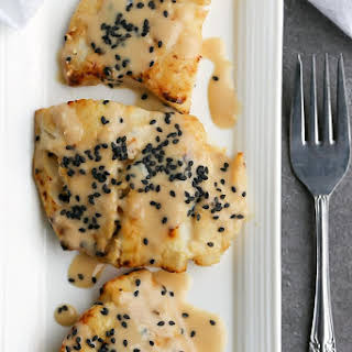 Broiled Cod with Sesame Miso Sauce.