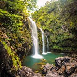 Upper Waikani Falls by Joel Jones - Landscapes Forests ( waterfalls, hawaii, waterfall, hiking, maui, travel )