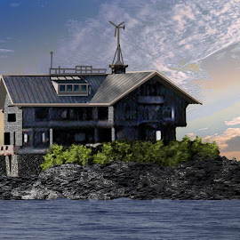 House on an Island by Joseph Vittek - Digital Art Places