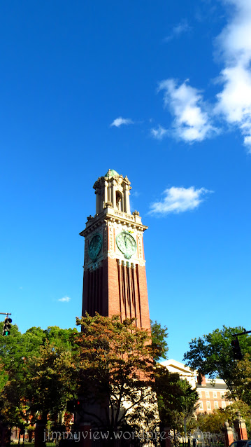 The famous Brown University clock tower.