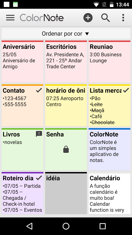 ColorNote Bloco de Notas Lista: captura de tela