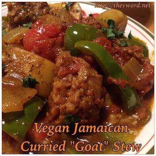"""Vegan Jamaican Curried """"Goat"""" Stew with Upton's Naturals Seitan."""