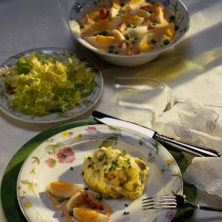 Eierfrikassee mit Champignonpüree