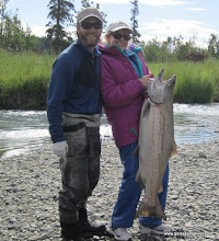 Photo: Jeremy Anderson of Alaska Drift Away Fishing with another happy Kasilof river angler. This Alaskan king salmon was caught on fresh salmon eggs cured with Nate's bait egg cure.