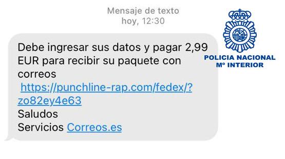 Captura de pantalla de uno de los mensajes falsos.