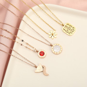 Factory Direct Sales Korean Style Titanium Steel Necklace Women's Double-Sided Creative Personalized Pendant Rose Gold Non-Fading Jewelry Choker
