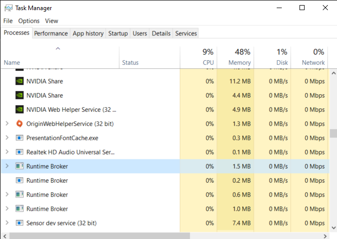 active Runtime Broker process in the Processes tab