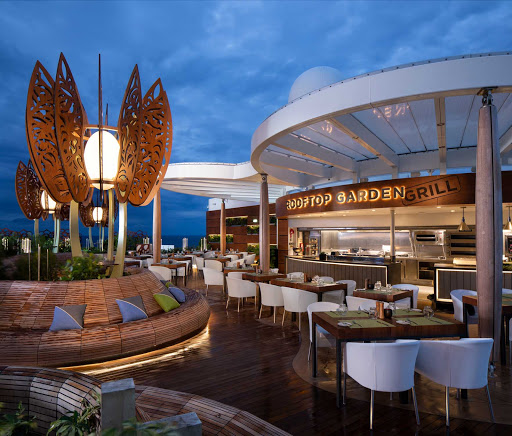Grab a casual meal at the Rooftop Garden Grill and relax amid live greenery and a sculpture garden on Celebrity Edge.