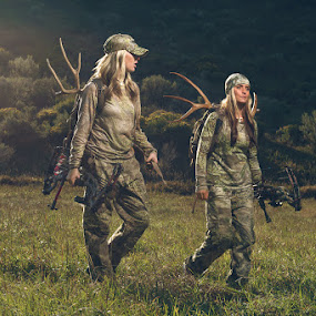 Hunters Talking by Braxton Wilhelmsen - Sports & Fitness Other Sports ( bow hunting, retouching, female, meadow, photography, braxton wilhelmsen, deer, photoshop )