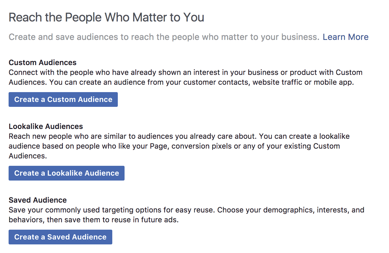 Facebook audience choices