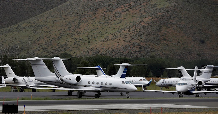 Private jet aircraft sit parked at the Friedman Memorial Airport in Sun Valley, Idaho. File Picture: REUTERS