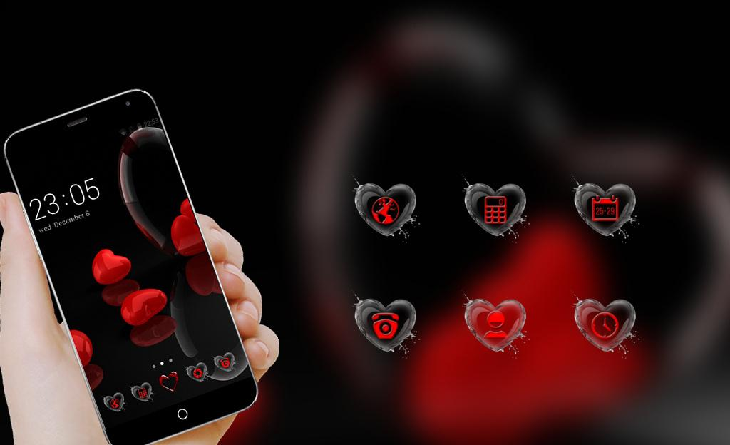 Romantic Hearts Theme: Red Color Black heart Love – (Android تطبيقات