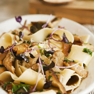 Pappardelle with Mushroom Sauce.