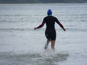 Photo: Ellen braving the cold for a Pacific Ocean swim