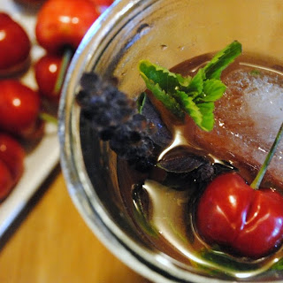 Bewitched Cherry-Blue Basil Bourbon Smash for #FoodNFlix