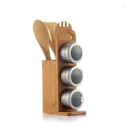 Organizator lemn condimente si ustensile pentru gatit