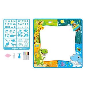 Covor de desenat cu apa, lavabil, pentru copii, 80 x 80 cm, accesorii incluse